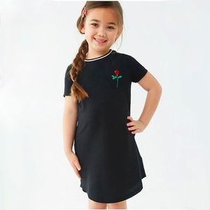 Forever 21 girls black rose print t shirt dress
